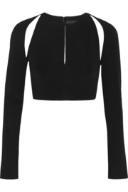Cushnie et Ochs Cutout cropped stretch-jersey top