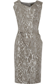 Ocean metallic snake-jacquard dress