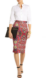 Vivienne Westwood Anglomania Printed stretch-cotton pencil skirt