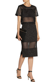 Jonathan Simkhai Cropped mesh and space-dyed jersey top