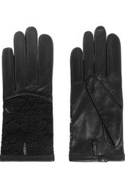 Nina Ricci Leather and lace gloves