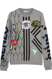 KENZO Appliquéd cotton-jersey sweatshirt