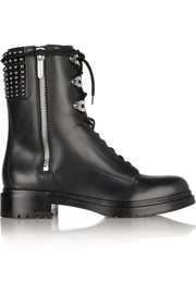 Sergio Rossi Embellished leather biker boots
