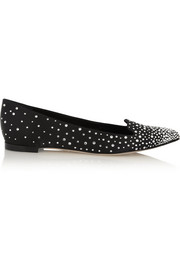 Sergio Rossi Crystal-embellished satin point-toe flats