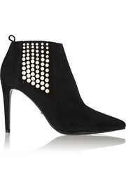 Sergio Rossi Faux pearl-embellished suede ankle boots