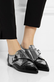 Sergio Rossi Monk-strap mirrored-leather brogues
