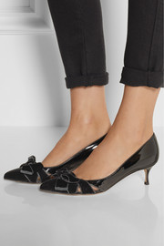 Sergio Rossi Bow-embellished velvet and patent-leather pumps