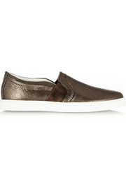 Lanvin Metallic textured-leather sneakers