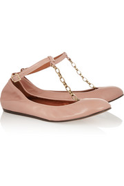 Lanvin Chain-trimmed T-bar leather ballet flats
