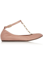 Chain-trimmed leather T-bar ballet flats