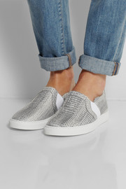 Lanvin Snake-effect leather slip-on sneakers
