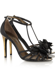 Lanvin Floral-appliquéd leather sandals