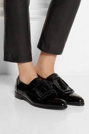 Lanvin Mila fringed patent-leather loafers