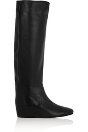 Lanvin Textured-leather wedge knee boots
