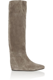 Lanvin Suede wedge knee boots