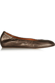 Lanvin Metallic textured-leather ballet flats