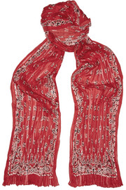 Bandana printed cashmere and silk-blend scarf
