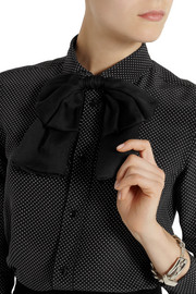 Saint Laurent Silk-chiffon and leather bow collar