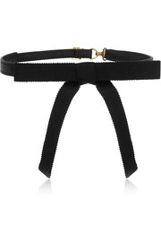 Saint Laurent Silk-grosgrain and leather bow collar