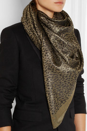 Saint Laurent Metallic leopard-print woven scarf
