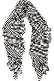 Saint Laurent Houndstooth wool-blend scarf