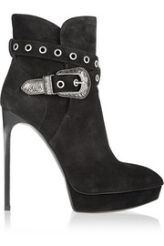 Saint Laurent Janis embellished suede ankle boots