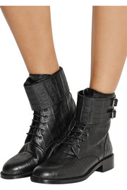 Saint Laurent Patti croc-effect leather ankle boots