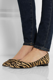 Saint Laurent Tiger-print calf hair point-toe flats