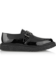 Monk-strap patent-leather creepers