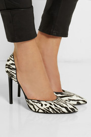Saint Laurent Paris zebra-print calf hair pumps
