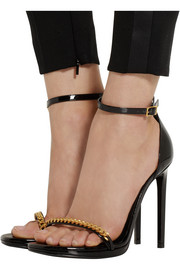 Saint Laurent Jane chain-embellished patent-leather sandals