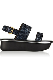 Marni Glitter-finished leather sandals
