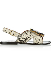 Marni Crystal-embellished printed calf hair sandals