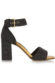 Leather-trimmed felt sandals