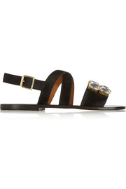 Marni Embellished calf hair and leather sandals