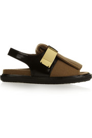 Marni Glossed-leather and wool-felt sandals