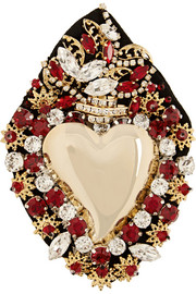 Sacred Heart gold-plated Swarovski crystal brooch