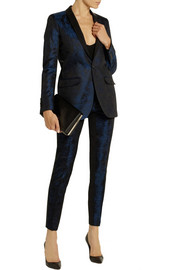 EACH X OTHER Leather-trimmed brocade tuxedo jacket