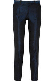 EACH X OTHER Leather-trimmed brocade tapered pants