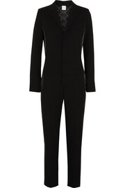 EACH X OTHER Satin-paneled wool-crepe tuxedo jumpsuit