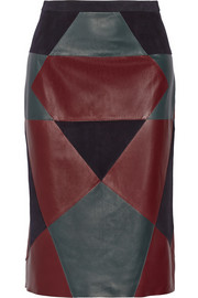 Derek Lam Paneled nubuck and leather pencil skirt