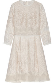 Elie Saab Lace-appliquéd tulle and organza mini dress