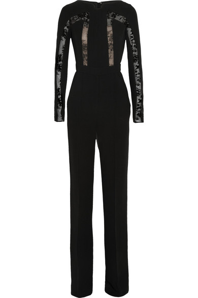 Sale alerts for Elie Saab Lace-paneled crepe jumpsuit - Covvet