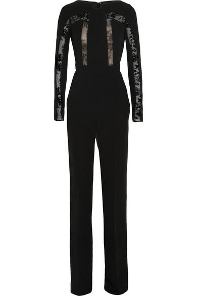 Sale alerts for Elie Saab Lace-paneled crepe jumpsuit - Covvet