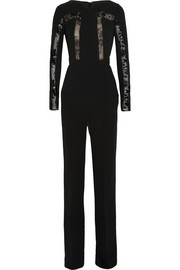 Lace-paneled crepe jumpsuit