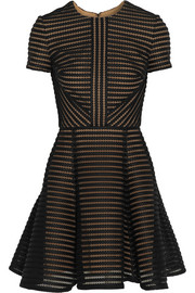 Elie Saab Striped honeycomb-mesh and brushed-satin mini dress