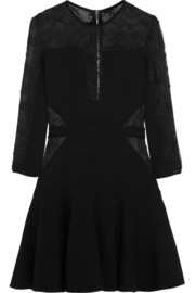 Elie Saab Lace-paneled stretch-knit mini dress
