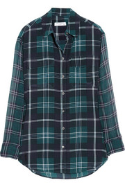 Equipment Signature plaid washed-silk and chiffon shirt
