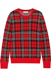 Equipment Shane plaid-intarsia wool sweater