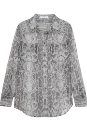 Slim Signature snake-print silk-georgette shirt